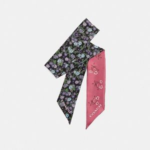 Coach Skinny Floral Bow Print Scarf